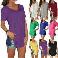 Summer Women Short Sleeve T Shirt V-Neck Blouse Ladies Casual Loose Tops 6-22