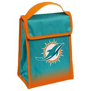 """Miami Dolphins Insulated Lunch Bag Box Cooler Gradient Team Logo 9"""" x 7"""" x 4.5"""""""