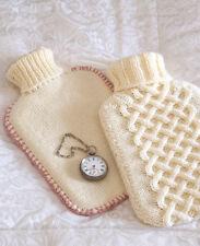 Aran & Stocking Stitch Hot Water Bottle Covers ~    Knitting Pattern