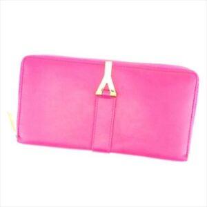 Saint Laurent Wallet Purse Long Wallet Pink Gold Woman Authentic Used T6958
