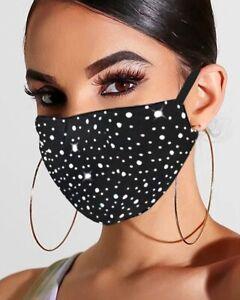 black diamante face mask Washable Reusable