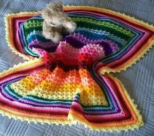 Pastel Rainbow Baby Blanket and Hat Set  Handmade Rainbow baby Heart Blanket  Gender Neutral Rainbow Baby Gift Set  Crochet Cot Blanket