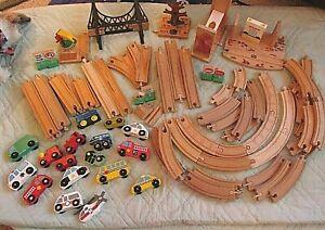 Brio Train Tracks Bridge Tree Switcher Crane Wood Lot 97 Pcs Compatibles Cars