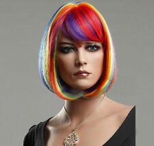 Colorful Rainbow Bob Style Short Straight Hair Wigs Salon Gay Lesbian Pride Wig