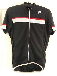 Sportful mens short sleeve jersey black/ red - medium
