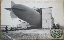 Airship/Dirigible/Blimp 1907 Realphoto French Aviation Postcard: Patrie, Sortie
