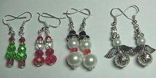 & Fairy Crystal Bead Earrings Novelty Christmas Tree, Santa Claus Snowmen