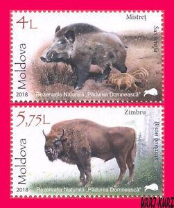MOLDOVA 2018 Nature Reserve Fauna Animals Cattle Wild Boar & Europe Bison 2v MNH