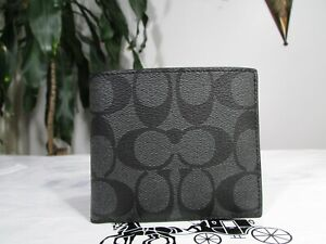 WWT Coach Signature coated canvas Double Billfold Wallet F75083 Charcoal / Black