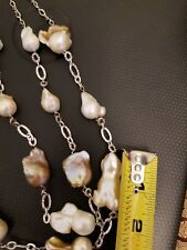 Natural 12-30 mm south sea Baroque pearl necklace 10 inch 925 Sterling