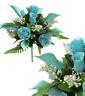 """Aqua Green Rose & Lily 17""""  Bouquet Silk Flower Leaf Home Bride Wedding Decor US"""