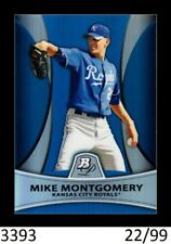 1-2010 BOWMAN PLATINUM BLUE REFRACTOR MIKE MONTGOMERY MARINERS 22/99