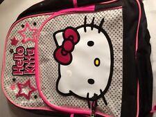 "Hello Kitty Back Pack 16"" Black Pink Silver Glitter Kids Backpack"