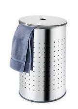 Wäschekorb mit Deckel Wäschesammler Wäschetonne Edelstahl Grau 54 Liter BARREL