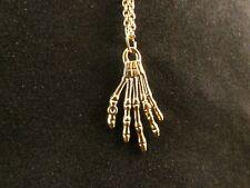 Hand Halskette 24 Karat Vergoldet Skelett Totenkopf Gothic Punk Snap Chunk
