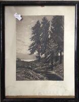 ::GEORG FRITZ *1894 DRESDEN RADIERUNG SCHWARZWALD KAPELLE WALDRAND JUGENDSTIL