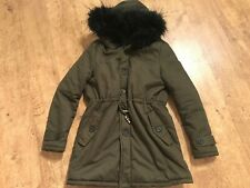 LADIES GIRLS PRETTYLITTLETHING KHAKI PARKA FUR WINTER COAT JACKET S SMALL 10 NEW
