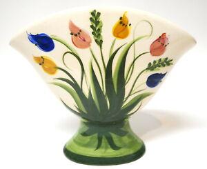 "Gail Pittman 5 Flower Hand Painted Tulip Flower Vase Signed 10"" W x 8.5"""