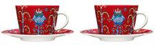 Iittala Klaus Haapaniemi Taika Christmas Red Cappuccino Cups & Saucers Finland