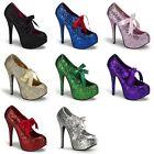 BORDELLO Teeze-10G Glitter Pinup Burlesque Stripper Showgirl Platform Heels 5-11