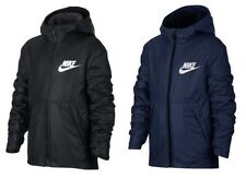 Nike Boys Junior Fleece Lined Waterproof Jacket Coat Hoodie Wind Stopper Hooded