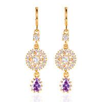 Women Gold Plated Luxury CZ Cubic Zirconia Long Dangle Earrings Jewelry Wedding