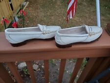 Vintage Ralph Lauren Womens White Leather Penny Loafers sz 8 B