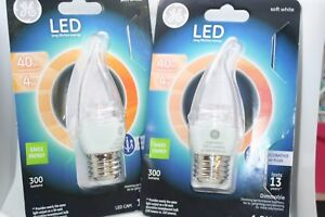 GE Lighting LOT OF 2 Dimmable LED Chandelier Bulb Medium Base 4-Watt Clear