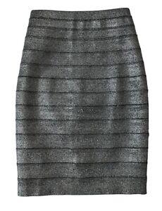 Reiss Silver Metallic Henna Pannelled Pencil Skirt Size UK 6 US 2  BNWT RRP £125