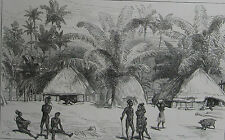 1875 Antique Prints- Challenger Expedition -Admiralty Islands - Native Villagers