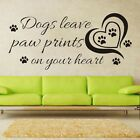 Dogs Leave Paw Prints Saying Decal Wall Sticker Decor Quote Home Room Decals