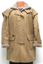 vtg Toggi MUSTARD BEIGE OILSKIN DUSTER Western Trench Coat MED waxed 90s sherpa