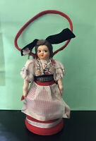 "Vtg European Doll Purse Italy 6.5""  Traditional Clothing Zipper Wool W/ Orig Tag"