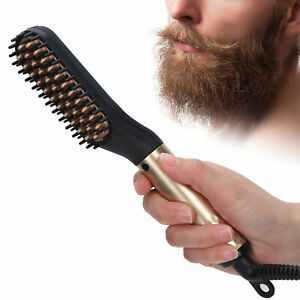 Multifunctional Mens Quick Beard Straightener Hair Comb Curling Curler Show Caps