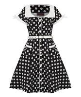 Women's Floral Button Up Polkadot  50's Vintage Rockabilly Flared Swing Dress