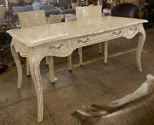 Maitland and Smith Tessellated Marble Desk and Two Matching Chairs 3 Piece Set