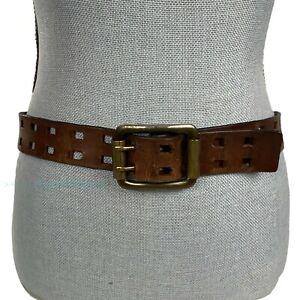 Vintage LEVIS Sz M 32 Leather Belt Brown Double Prong Brass Buckle Style 1597
