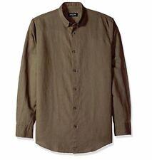Zanerobe Men's Rise-Linen 7ft Ls Shirt, Peat Medium