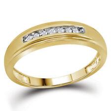 10k Yellow Gold Mens Round Diamond Wedding Anniversary Band Ring 1/12 Cttw