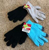 Girls Black Light Blue Gray Joe Boxer Texting Gloves 4 Pair