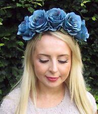 Large Dark Turquoise Blue Rose Flower Garland Headband Festival Hair Crown 3258