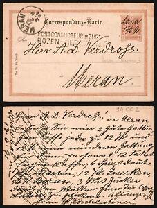 Austria 1891 - Postal Stationery to Meran - Railroad TPO D510