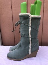 Kors Michael Kors Womens Size US 10 - 10.5 Mid-Calf Blue Suede Wedge Boot Heel
