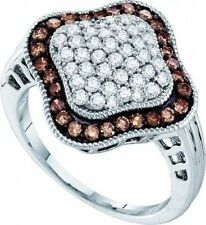 10K White Gold Chocolate Brown & White Diamond Cluster Ring 1ct Band Quadrefoil