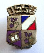 Ancien insigne boutonnière O.S.S.U, marqué FRAISSE DEMEY  au revers, H: 21 mm.