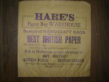 Vintage Sheffield Ephemera Hares Paper Bag Makers Sample Paper Bag