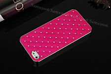 Gypsophila Crystal-Studded Leather Textured Luxury iPhone 5S SE Case Cover - Red