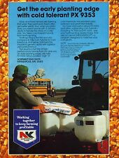 1983 Print Ad of Northrup King NK PX9353 Corn Seed Farmer & School Bus