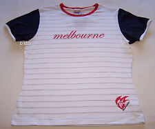 Melbourne Demons AFL Ladies White Stripe Printed T Shirt Size L New