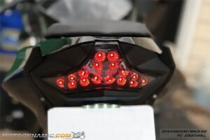 Fits 2018-2021 Kawasaki Ninja 400 Z400 SEQUENTIAL Signal LED Tail Light SMOKED
